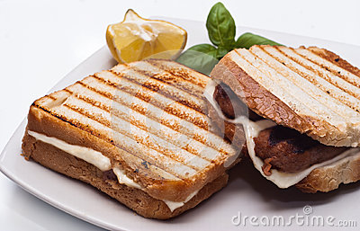 Sandwich with sausages and cheese