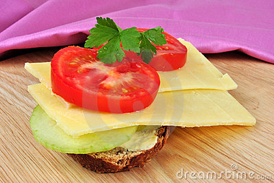 Sandwich with some cheese and tomato