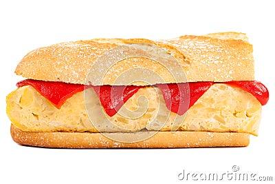 Sandwich of Spanish tortilla on white