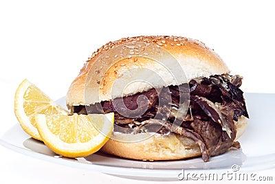 Sandwich with spleen. palermo street food
