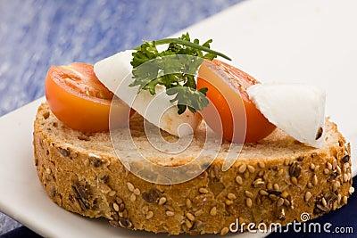 Sandwich with tomatoe and mozzarella