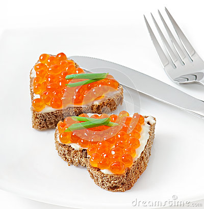 Free Sandwich With Red Caviar Stock Photos - 36517593