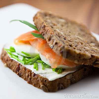 Free Sandwich With Smoked Salmon Stock Photos - 12380793