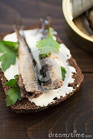 Free Sandwich With Sprats Stock Photos - 74313473