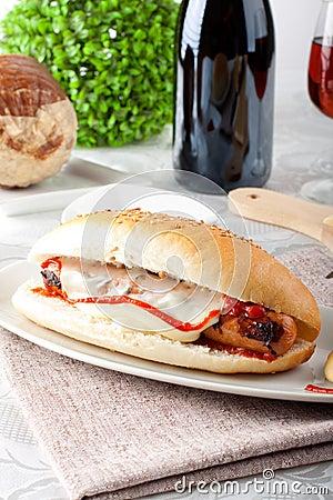 Sandwich with Wurstel