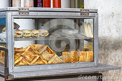 Sandwiches on display in Delhi, India