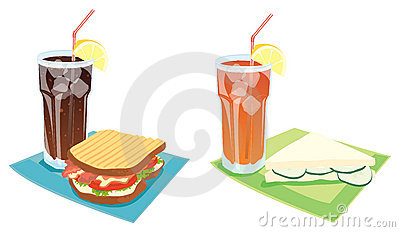 Sandwiches and drinks