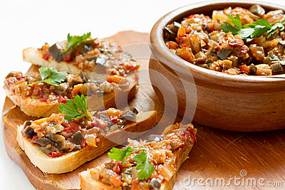Sandwiches with eggplant caviar