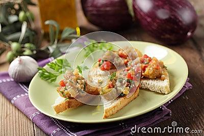 Sandwiches with eggplant caviar