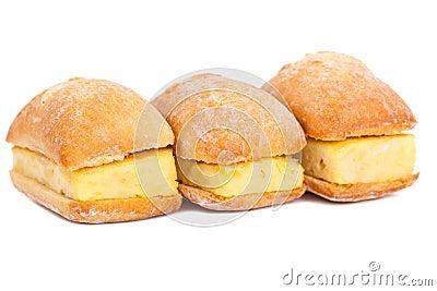 Sandwiches of Spanish tortilla on white
