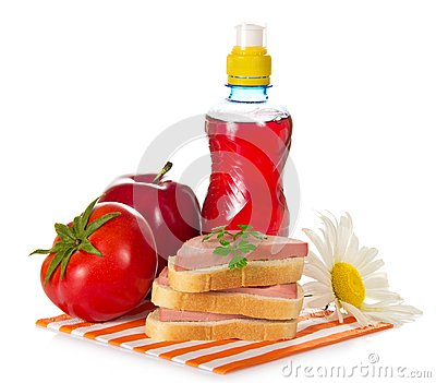 Sandwiches, tomato, red apple and bottle