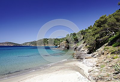 Sandy bathing bay on Southern France
