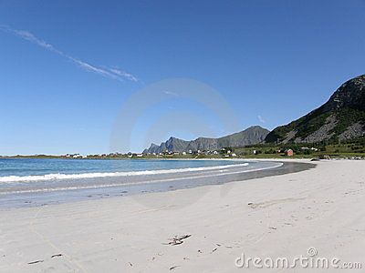 Sandy beach in Lofoten islands, the Arctic Ocean,
