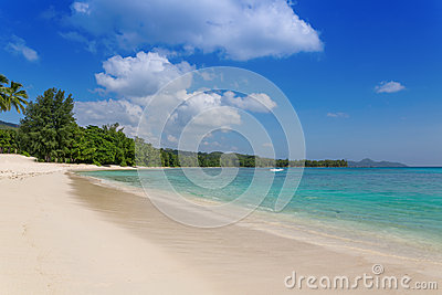Sandy beach on Mahe Island, Seychelles