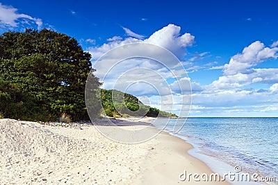 Sandy beach ofr Baltic Sea in Sweden