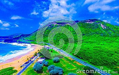Sandy Beach Park Hawaii Editorial Photo