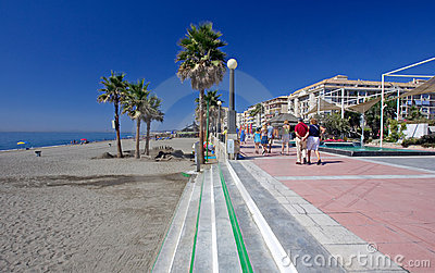 Sandy beach and promenade at Estepona in Southern Spain