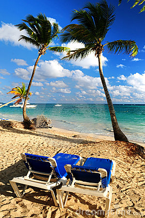 Sandy Beach Of Tropical Resort Royalty Free Stock Photos - Image: 4903678