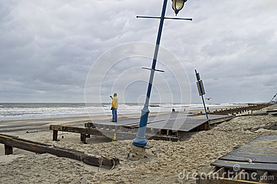 Sandy Belmar Boardwalk Damage Editorial Photo