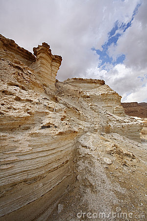 The sandy canyon in mountains of the Dead Sea