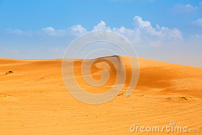 Sandy dunes in the desert near Abu Dhabi
