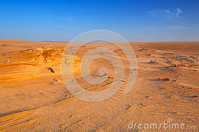Sandy dunes in the desert near Abu Dhabi