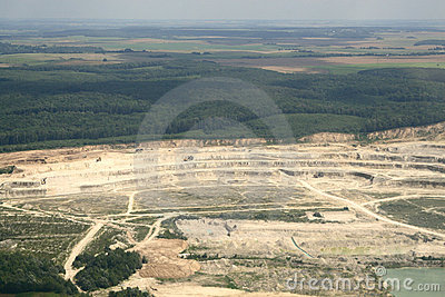 Sandy open-cast mine. Aerial view.