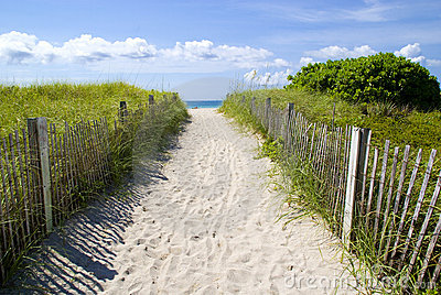 Sandy pathway to beach