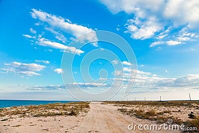 Sandy road on beach
