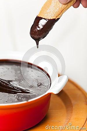 Sanguinaccio chocolate sause with Savoiardi