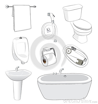 Sanitary ware bathroom stock vector image 48761783 for Bathroom ware