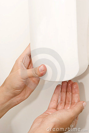 Free Sanitizer Dispenser And Woman Hand Royalty Free Stock Images - 23740639
