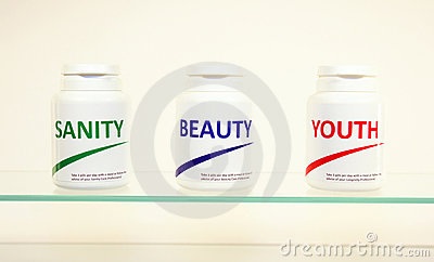 Sanity, Beauty and Youth pills in a bottle