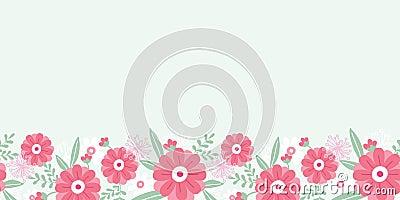 Sans couture horizontal de fleurs et de feuilles de pivoine