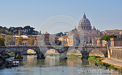 Sant Angelo bridge and Vatican Cathedral in Rome