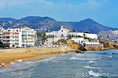 Sant Sebastia Beach in Sitges, Spain Editorial Stock Photo