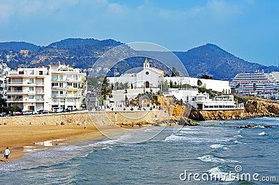 海滩sant sebastia sitges西班牙 编辑类库存照片