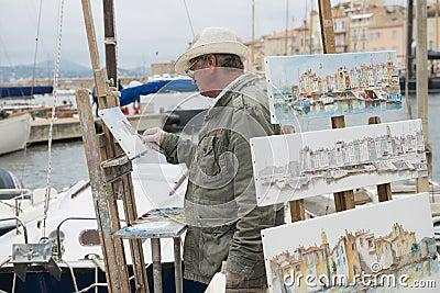 Sant-Tropez Street Artist Editorial Stock Image