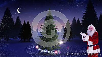 Santa που κάνει ένα μαγικό χριστουγεννιάτικο δέντρο να εμφανιστεί φιλμ μικρού μήκους