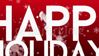 Santa που κρυφοκοιτάζει γύρω καλές διακοπές στο εορταστικό υπόβαθρο απόθεμα βίντεο