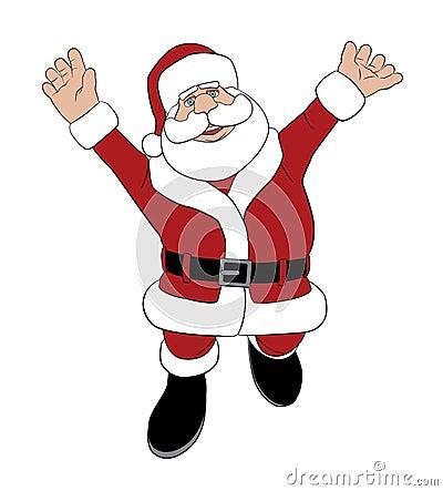 Santa που πηδά για τη χαρά