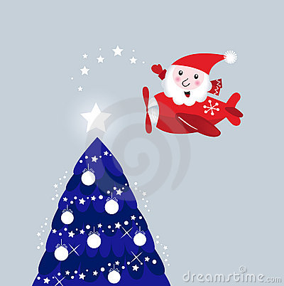 Santa in air plane lighting christmas tree