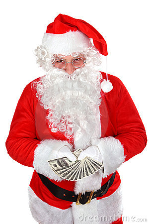 Santa avec des dollars