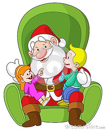Santa avec des gosses