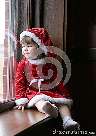 Free Santa Baby At Window Royalty Free Stock Image - 5357826