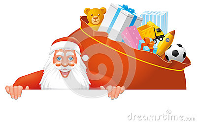Santa and bag full gifts banner