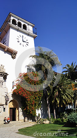 Free SANTA BARBARA, CALIFORNIA, USA - OCT 8th, 2014: Historic County Courthouse In Sunny Southern CA Royalty Free Stock Image - 83809476