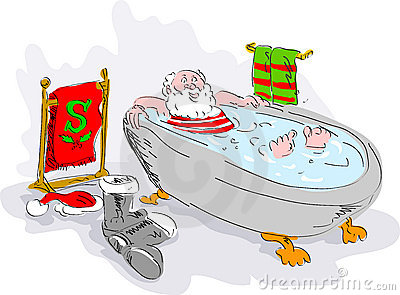 santa in bath tub relaxing