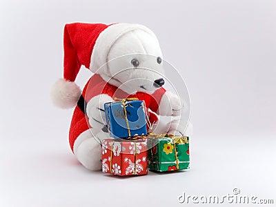Santa bear and christmas presents