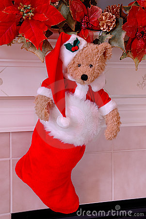 Santa Bear Christmas Stocking
